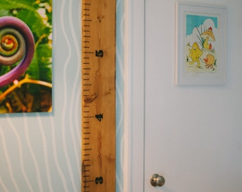 Wood Growth Ruler - Engraved and Hand Painted - Great for Kids and Adults