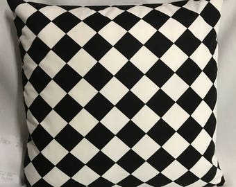 Made To Order.....Harlequin Black and White Diamond Pillow Cover........with Invisible Zipper....New