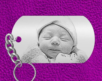 Baby Memento Gift, Engraved Photo Keychain, Personalized FREE, Newborn Picture