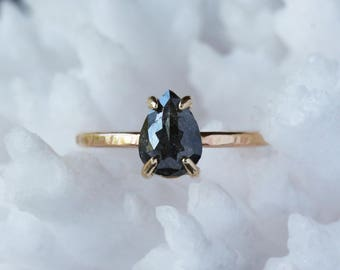 Rose Cut Pear Diamond Ring, Natural Black Diamond, Unique Engagement Ring, Pear Cut 14k Yellow Gold, Pear Shape, Conflict Free