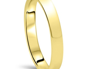 10K Yellow Gold 3M Dome High Polished Plain Anniversary Ring, Simple Flat Wedding band, High Polished Wedding Band, Simple Anniversary Plain