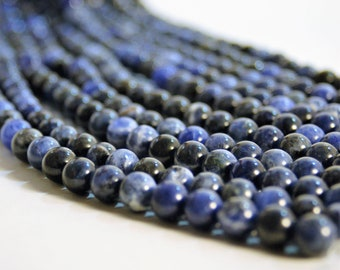 Sodalite 15 inch strand of Natural 8mm Sodalite gemstone beads for Malas and Jewelry making - Jewelry Supplies - Beautiful Blue Stone Beads
