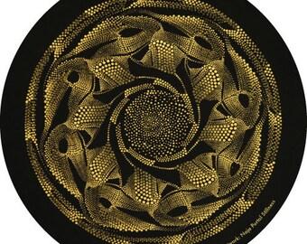 """STICKER Dot Painting """"Naja Portal Stillness"""" - Digital Art Print - 200mm x 200mm - Round Circle Pre Cut"""