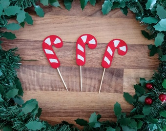 Christmas Cupcake topper, Glitter Candy Cane Cupcake topper, Candy Cane Christmas topper, Modern Christmas decoration,Cupcake topper