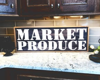 Market Produce Rustic Style 36x12 Wood Wall Art Sign