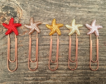 Starfish Paperclips, Planner Clip, Bookmark, Planner Accessory, mermaid accessories, stationery, starfish clips, starfish, sea star clips