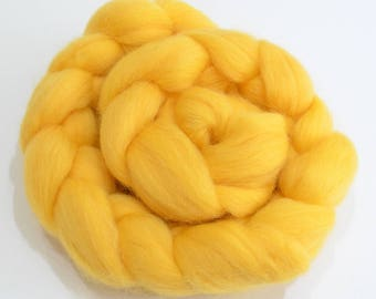 Merino Wool Combed Top - Yellow - Spinning - 100 grams
