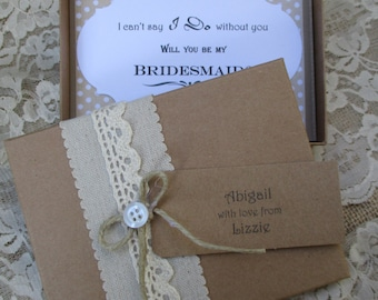Will You Be My Bridesmaid - Bridesmaid Invitation- Boxed Card With Personalised Tag- Vintage Invite-Rustic Card Box