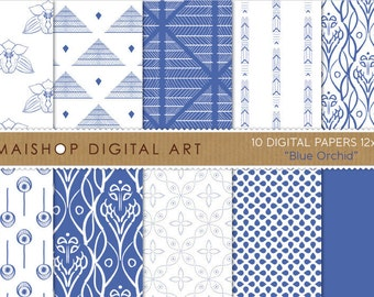 Digital Paper 'Blue Orchid' Blue and White Digital Sheets for Invitations, Cards, Paper Bags, Envelopes, Scrapbooking...