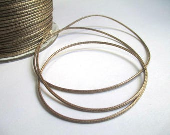 10 meters wire glossy brown polyester waxed 1 mm