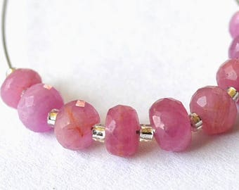 Very rare Waouhh on my shop pink beautiful set of 9 Sapphire faceted rondelles