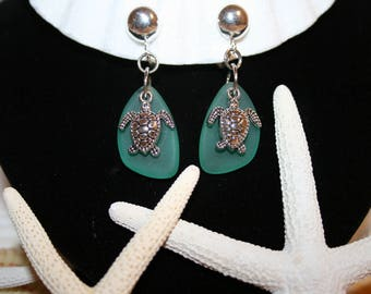 MOTHER'S DAY Jewelry Gift Clip-On Sea Glass Sea Turtle Earrings