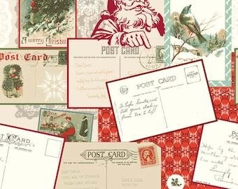 Riley Blake Christmas Fabric, Postcards For Santa, C4750 Red Main, My Mind's Eye, Victorian Postcard Fabric, Christmas Cotton Fabric