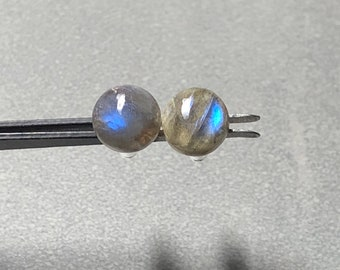 8mm Labradorite Gemstone Round Post Earrings with Sterling Silver