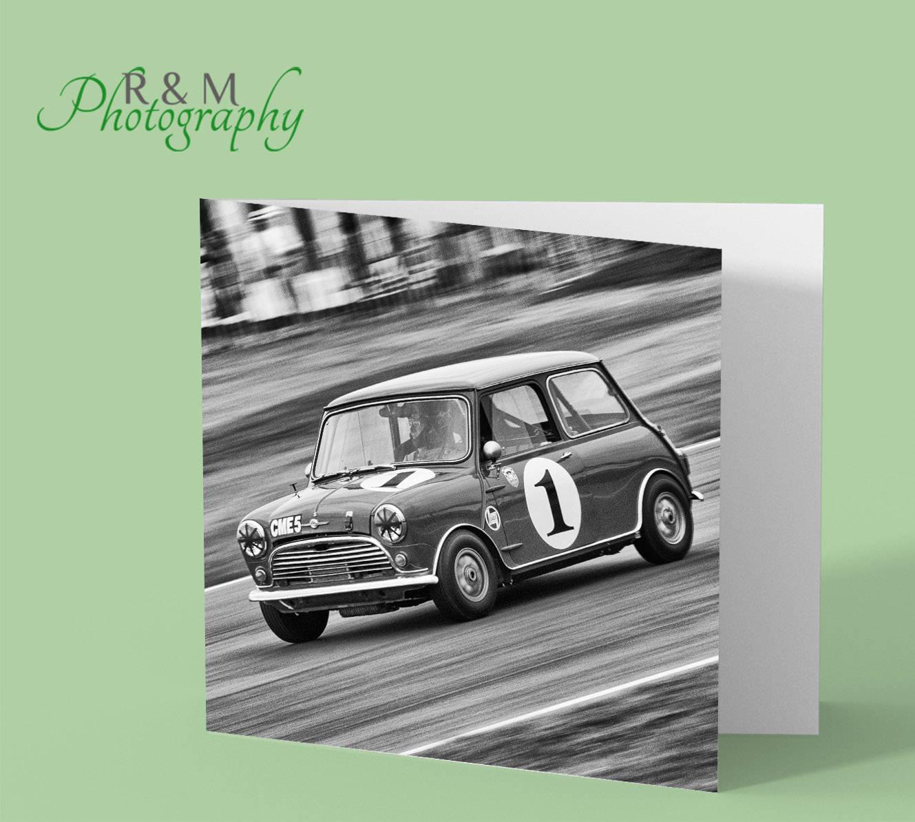 Mini Car Greeting Card Minicar Racing Car Blank Black And