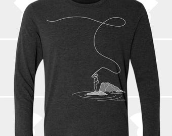 Fly Fishing Shirt, Long Sleeve T Shirt, Gift for Fly Fisherman, Dad, Brother, Mom, Mens Shirt, Fishing Gift