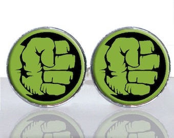 Hulk Hand Fist Comic Strip Superhero Round Glass Tile Cuff Links CIR172