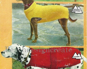 knitting pattern, dogs coat, 3 dog coats in 3 sizes each, pdf, digital download, instant download