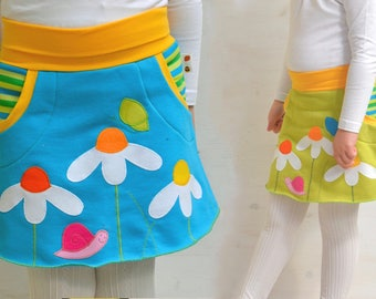 Cute twin girls daisies appliqué skirts set,twin girls clothing,matching sisters outfits,twin girls outfits - ready to ship in size 4, sale