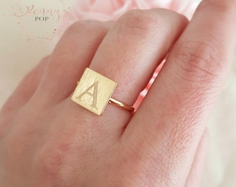 Custom Square Ring - Initial Ring - Silver Ring - Geometry - Ring for her - Personalized Gift - Gift Ideas - Sister Gift - Bridesmaid Gift