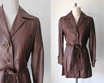 Vintage 1970's leather trench CHOCOLATE BROWN coat - M