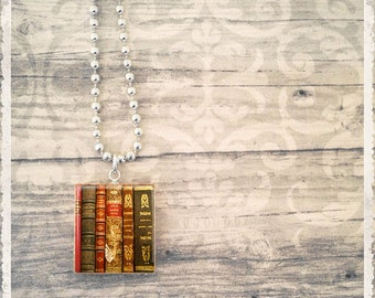 Scrabble Art Pendant - Vintage Books - Scrabble Game Tile Jewelry - Customize - Choose Your Style