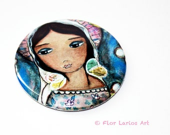 Watching Over You - Pocket Mirror- Original Art by Flor Larios