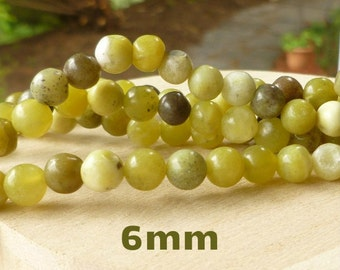 Olive Jade Beads - Yellow Green Beads - Mala Beads - 6mm Round Beads - Wrap Bracelet Beads - 6mm Green Gemstone Beads - Full Strand