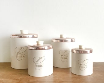 Vintage Kitchen Canister Set -  Metal Ransburg Canisters - White Canisters with Copper Rosegold Lids
