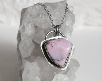 Peace - Pink Opal Sterling Silver Pendant Necklace