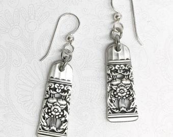 """Demitasse Spoon Earrings, Dangle Earrings, Silverware Jewelry, """"Coronation"""" 1936"""