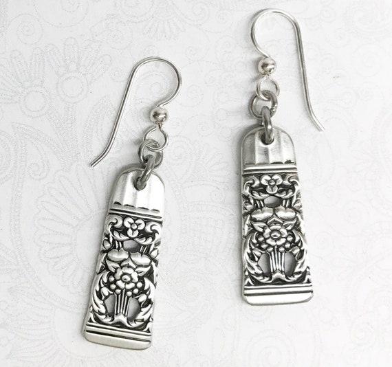 """Vintage Spoon Earrings, Dangle Earrings, Silverware Jewelry, """"Coronation"""" 1936"""