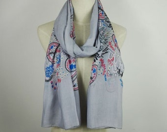 Paisley Scarf Winter Scarf Christmas Gifts Gray Scarf Paisley Gray Scarf Printed Scarf Gift For Her Paisley Shawl Fashion Scarf Silver Scarf