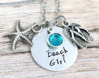 Beach Girl Necklace, Beach Jewelry, Gift for Beach Lover, Hand Stamped Jewelry, Ocean Necklace, Flip Flop Charm Necklace, Starfish Jewelry