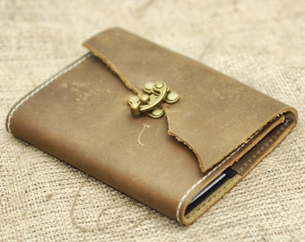 Steampunk Leather Notebook - Rustic Moleskine Journal Cover - Distressed Leather Diary