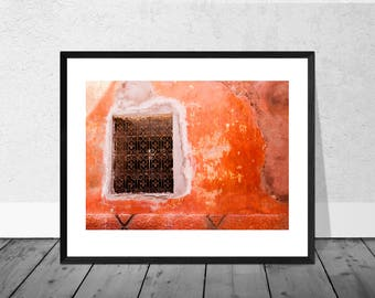Morocco Art Print, Morocco Photography, Red Wall with Window, Marrakech, Colour Photography, Home Décor, Vibrant Print
