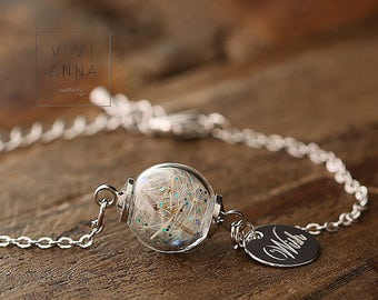 Wish bracelet with flower · Name bracelet · Personalized jewelry ·  Flower bracelet · Silver · Engraved bracelet · 116