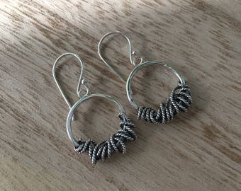 Circle Wire Earrings with Twisted Wire Detail