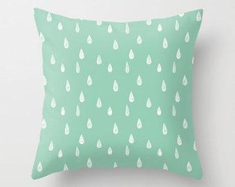 Raindrop Pillow Cover, seafoam mint green beach decor, rain decorative pillow, c pillow,  pillow