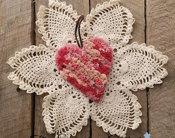 A Piece of My Heart - Home Decor Accents - Pink Heart - Locker Hooking - Fabric Heart Ornament
