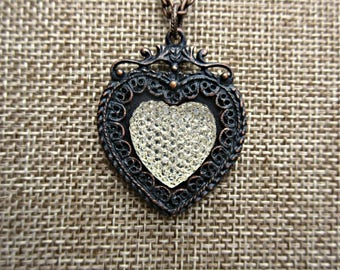 Fancy Victorian black heart necklace, black heart pendant, rusted iron patina, B'sue by 1928, American made nickel free cast pewter