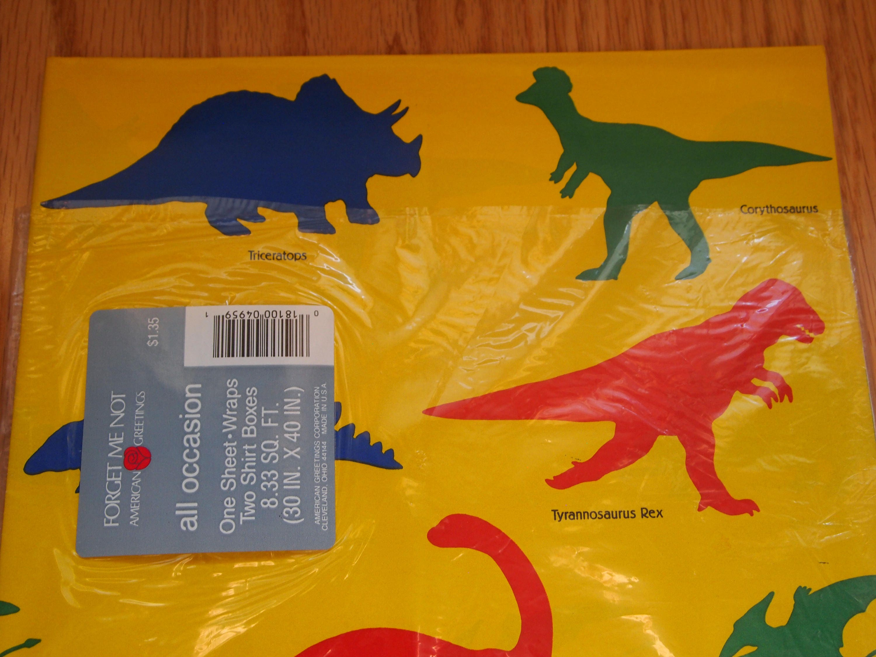American greetings dinosaur wrapping paper vintage birthday zoom m4hsunfo