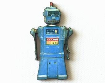 Retro Robot Pin, Robot Tie Tack, Retro Robot Brooch, Retro Robot Badge, Blue Robot Pin, Atomic Age, Toy Robot