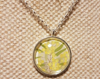 Wattle necklace / upcycled Australian stamp /silver plated  glass cabochon pendant with 24 inch belcher chain