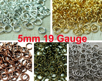 5mm 19 Gauge Open Jump Rings Heavy Strong, Plated in Silver, Gold, Antique Brass, Antique Copper, Antique Silver Tone - 100pcs - Pick Finish