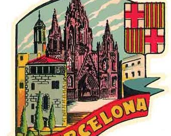 Vintage Style SPAIN  Europe Barcelona Madrid 1950's    Travel Decal sticker
