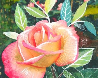 Peach Rose Art Print | Mixed Media Painting | Floral Photograph | Katie Daisy | 8x10 | 11x14