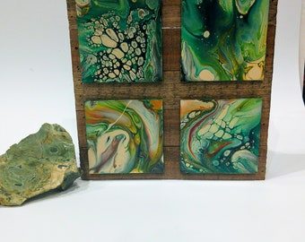 Acrylic pour fluid art abstract  set of 4 painting unique original art wall art resin art home decor rustic green and copper