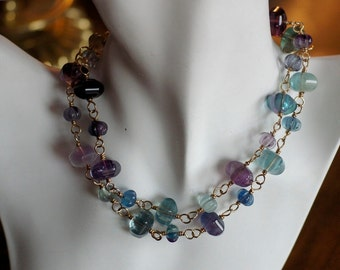 Ref: 116  Rainbow Fluorite necklace on gold fill wire.