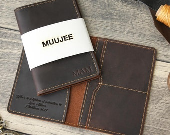 Embossed Passport Cover - Passport Holder - Personalized 3rd Leather Anniversary Gift  - Custom Stamped Name -  Travel Wallet Accessory